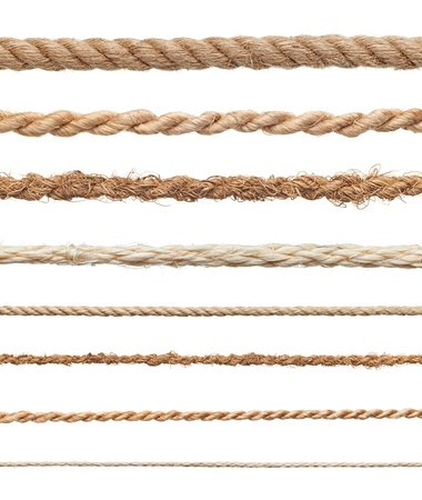 collection of various ropes on white background  each one is shot separately