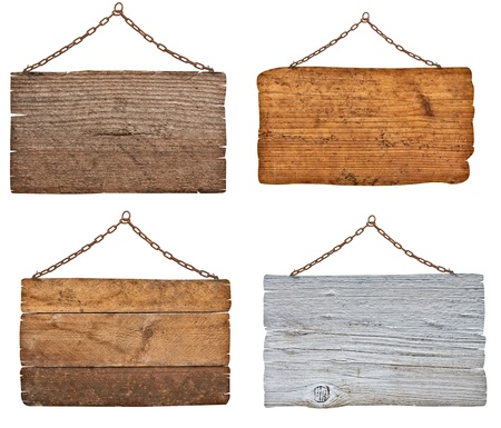 collection of  various wooden signs with chain on white background  each one is shot separately