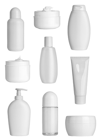 collection of  various beauty hygiene containers on white background  each one is shot separately