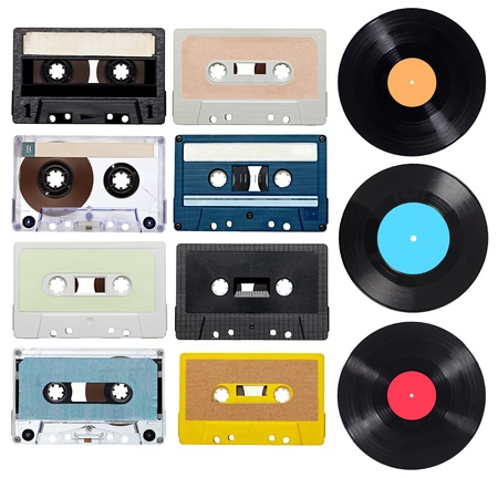 collection of various vintage audio tapes and vynil on white background  each one is shot separately