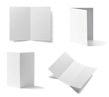collection of various  blank folded leaflet white paper on white background. each one is shot separately