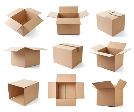 collection of various cardboard boxes on white background  each one is shot separately