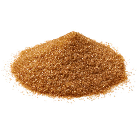 close up of  brown sugar on white background