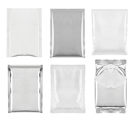 collection of  various white and aluminum bag and packages on white background. each one is shot separately