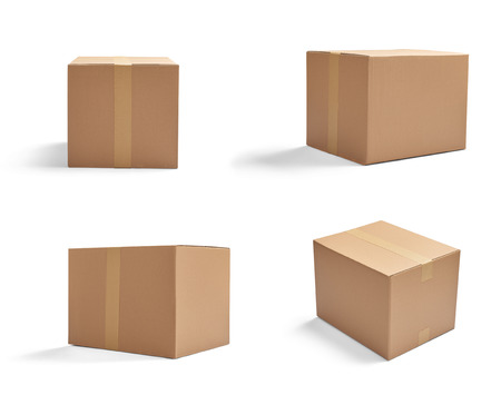 Photo pour collection of  various cardboard boxes on white background - image libre de droit