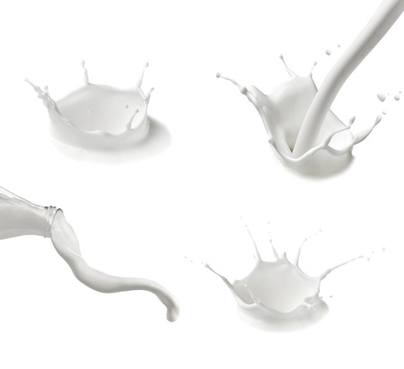 Photo pour collection of  various milk bottles and  splashes on white background - image libre de droit