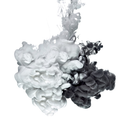 white and black paint in water