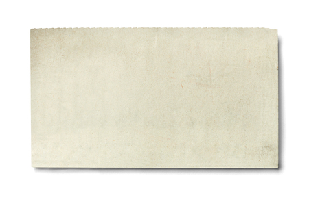 Photo for close up of piece of news paper on white background - Royalty Free Image