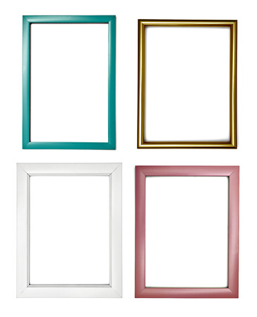Photo pour collection of various  wooden frame on white background. each one is shot separately - image libre de droit