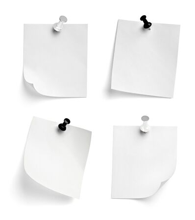 Photo pour collection of  various note paper with a push pin on white background - image libre de droit