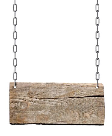 Photo pour wooden blank sign hanging with chain and rope on white background - image libre de droit