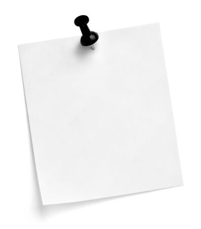 Photo pour close up of  a note paper with a push pin on white background - image libre de droit