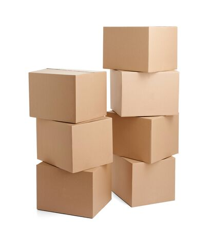Photo for close up of  a cardboard box on white background - Royalty Free Image