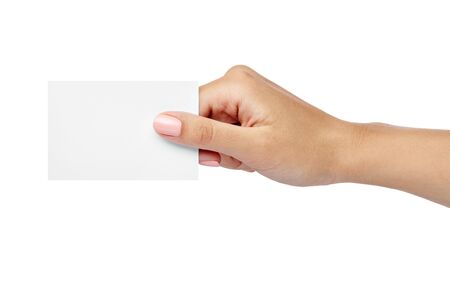 Photo pour close up of  a female hand holding blank note card sign on white background - image libre de droit