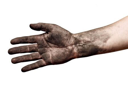 Photo pour close up of a dirty worker hand on white background - image libre de droit