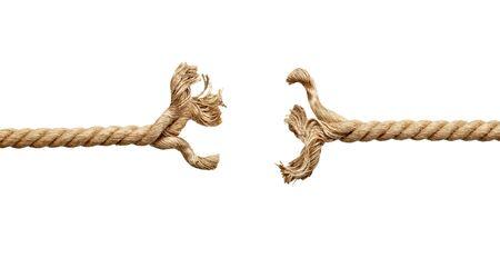 Foto de close up of a rope under pressure on white background - Imagen libre de derechos