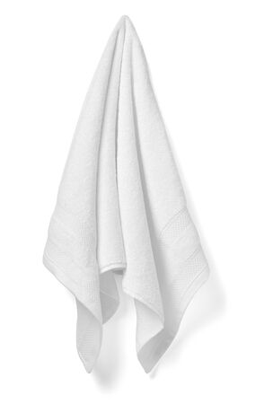 Photo for close up of a white towel bathroom on white background - Royalty Free Image