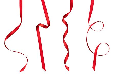 Photo pour collection of  various red ribbon pieces on white background. each one is shot separately - image libre de droit