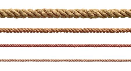 Photo pour collection of  various ropes string on white background. each one is shot separately - image libre de droit