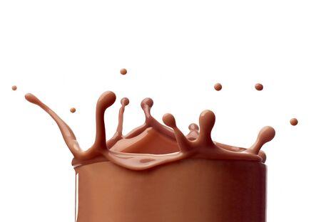Photo pour close up of a chocolate milk splash on white background - image libre de droit
