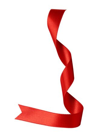 Photo pour close up of a red ribbon bow on white background - image libre de droit