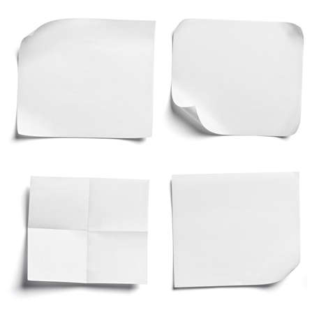 Photo pour close up of  a white note paper on white background - image libre de droit