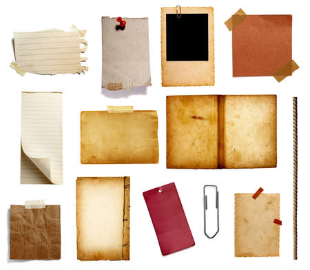 Photo pour collection of various vintage note paper, tape, price label, wood sign on  white background - image libre de droit