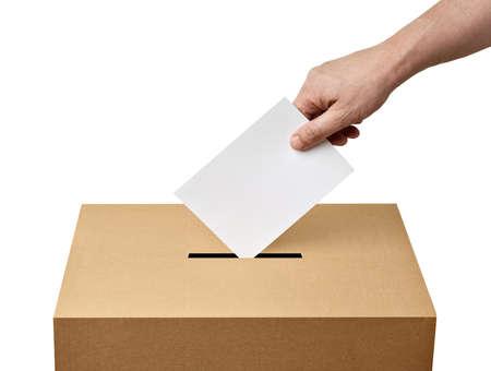 Foto für close up of  a ballot box and casting vote on white background - Lizenzfreies Bild