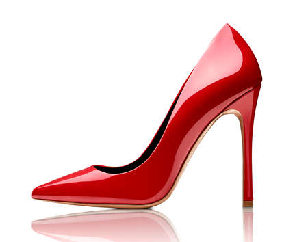 Photo pour close up of red high heels on white background - image libre de droit