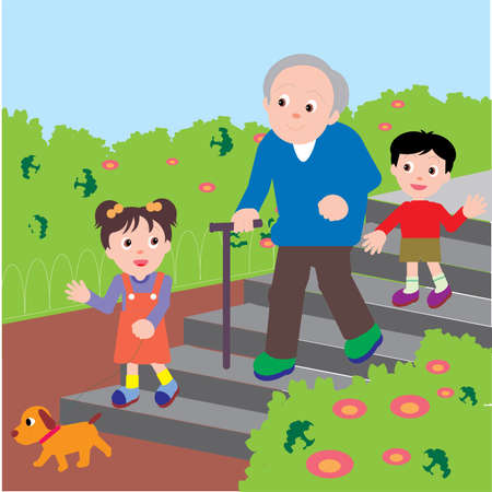 Illustration pour Vector Illustration of an old man walking down the stairs in a park with his grand children and a puppy. - image libre de droit