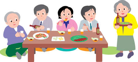 Illustration pour Vector Illustration of a group of people having dinner together sitting in japanese style. - image libre de droit