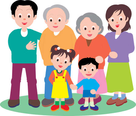 Illustration pour Vector Illustration of a happy family going out together. - image libre de droit