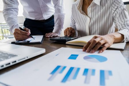 Photo for Business team brainstorming and discussing with financial data and report graph. Teamwork meeting working concept. - Royalty Free Image