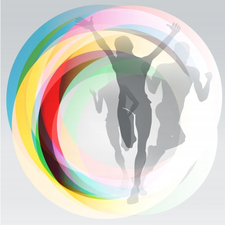 Three translucent runners silhouettes over rainbow rings background