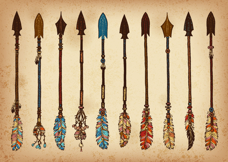 Ilustración de Set of 10 colored hand drawing ink traditional indian arrow. Elements in native style for greeting card and postcard, henna and tattoo design. - Imagen libre de derechos