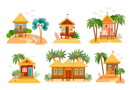 Illustration pour Beach houses collection of straw huts and bungalow. - image libre de droit