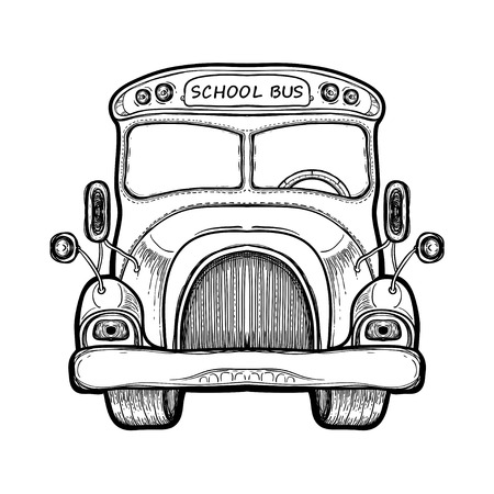 Vector yellow school bus isolated on white background. Elementary school Concept. Hand drawn illustration equipment for continuing education. College supplies. Coloring book for adults