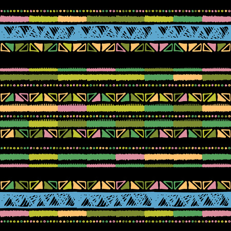 Illustration pour Ethnic seamless pattern in native style. Tribal vector seamless pattern with native American Indian symbols. Boarder pattern. Hand-drawn indian background vector. Native american tent pattern - image libre de droit