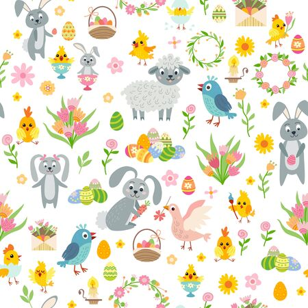 Illustration pour Easter seamless pattern. Holiday vintage background with cartoon Easter symbol. - image libre de droit