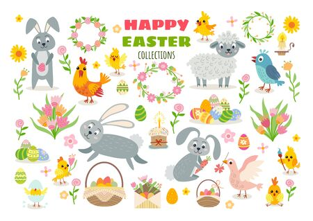 Illustration for Set of easter cartoon characters and design elements - Royalty Free Image