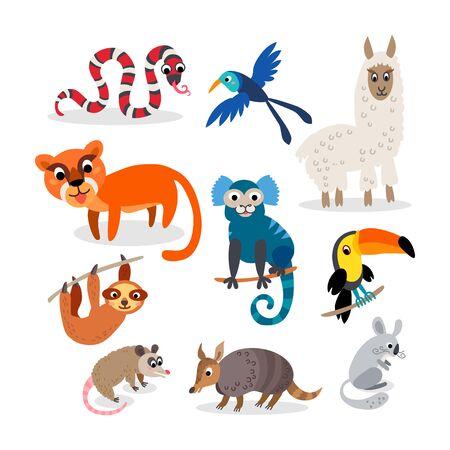 Illustration pour Wild South America animals set in flat style - image libre de droit