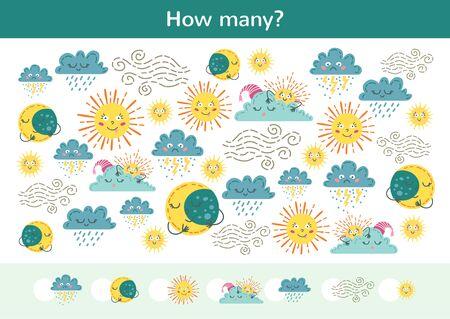 Ilustración de Counting children game of a weather set. - Imagen libre de derechos