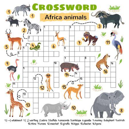Illustration pour Africa animals crossword. Game for preschool kids - image libre de droit