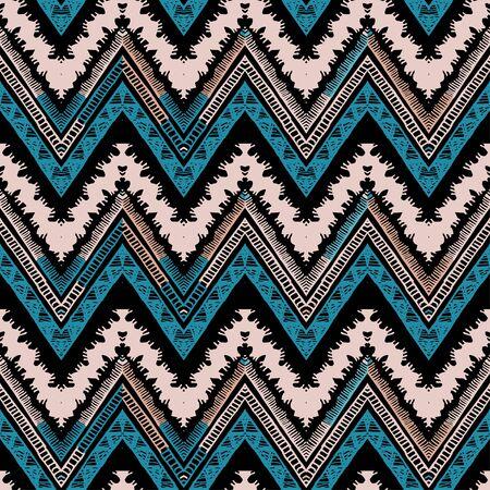 Illustration pour A seamless ethnic zigzag chevron vector pattern - image libre de droit