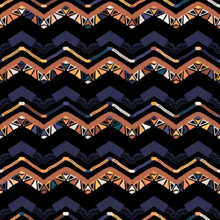 Illustration pour Abstract zigzag pattern for cover design. Retro chevron vector background. Geometric decorative seamless - image libre de droit
