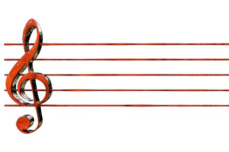 red clef with staves 3D rendering