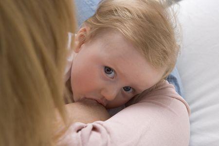 Breastfeeding a baby girl