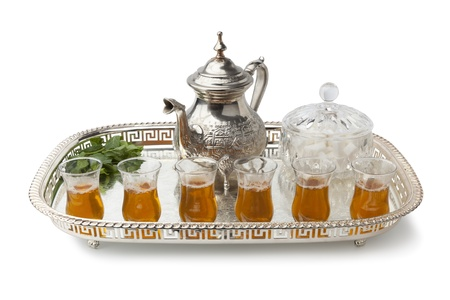 Tray with traditional Moroccan mint tea