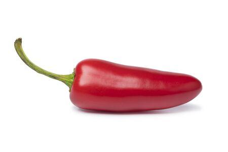 Foto für Single fresh red Jalapeno pepper isolated on white background - Lizenzfreies Bild