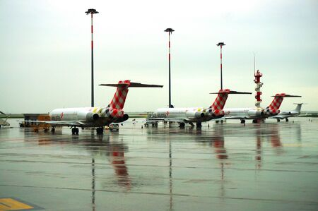 Parked aircraft on wet platform